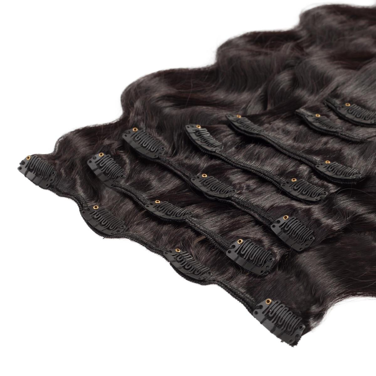Clip-on set Body Wave 7 pieces 1.2 Black Brown 60 cm