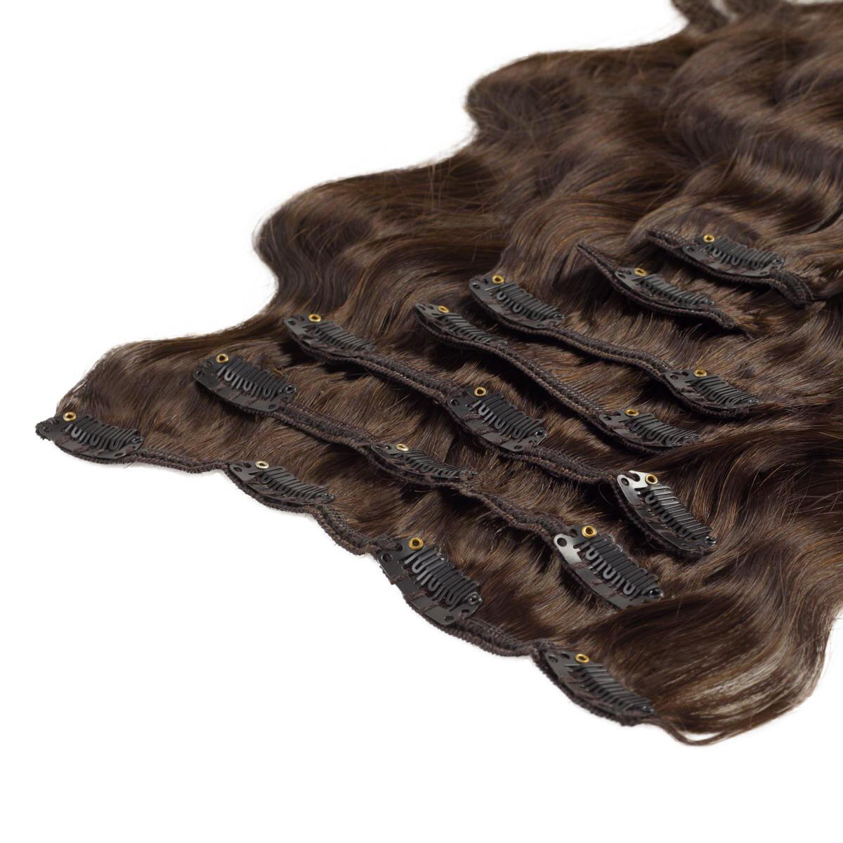 Clip-on set Body Wave 7 pieces 2.3 Chocolate Brown 60 cm