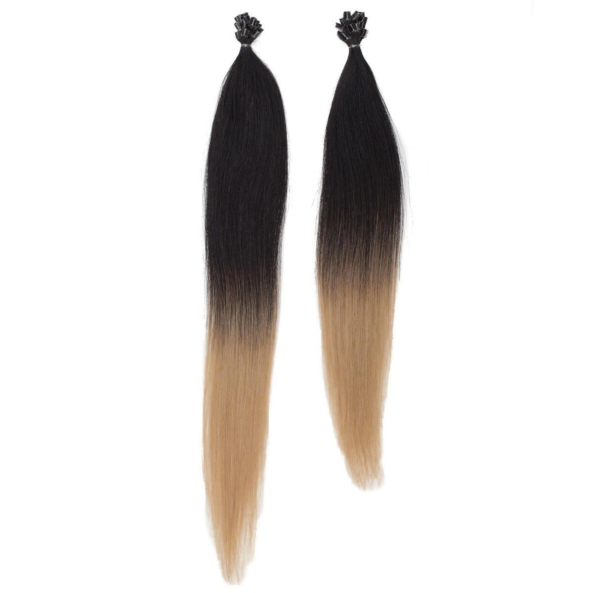 Nail Hair O1.2/7.5 Black Blond Ombre 40 cm
