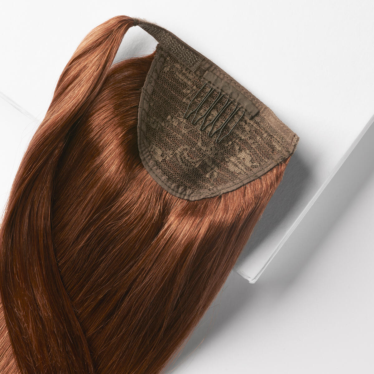Clip-in Ponytail Ponytail made of real hair 5.5 Mahogany Brown 50 cm