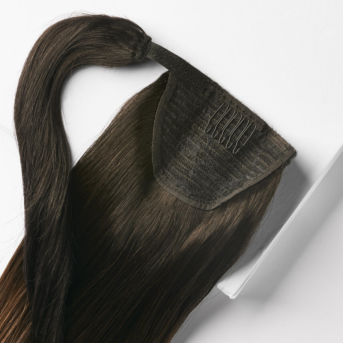 Clip-in Ponytail Ponytail made of real hair O1.2/2.0 Black Brown Ombre 40 cm