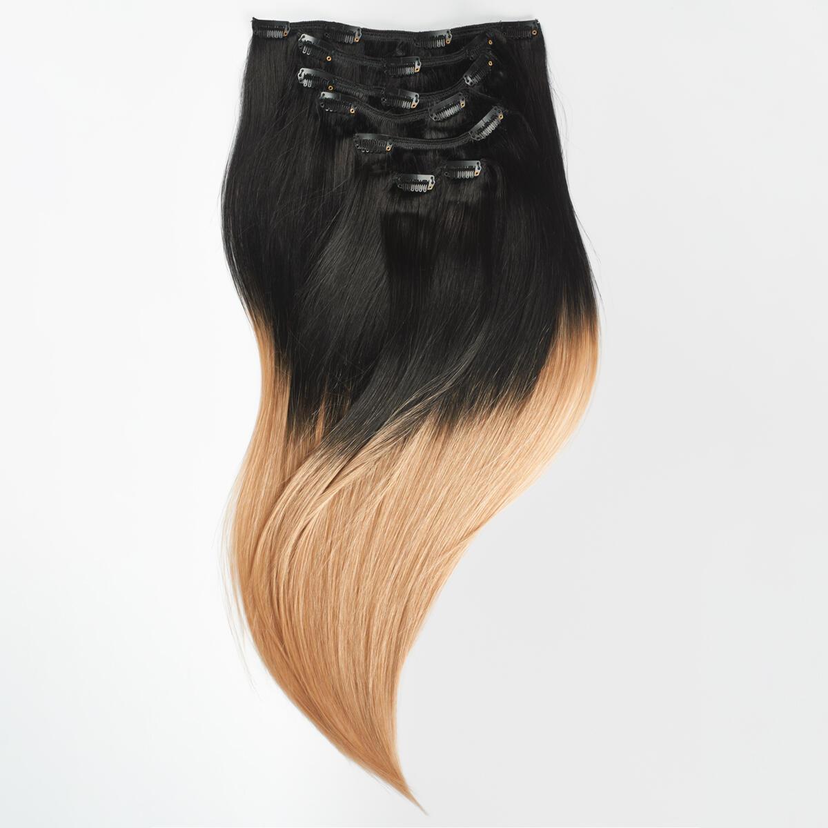 Clip-on set Premium 7 pieces O1.2/7.5 Black Blond Ombre 50 cm
