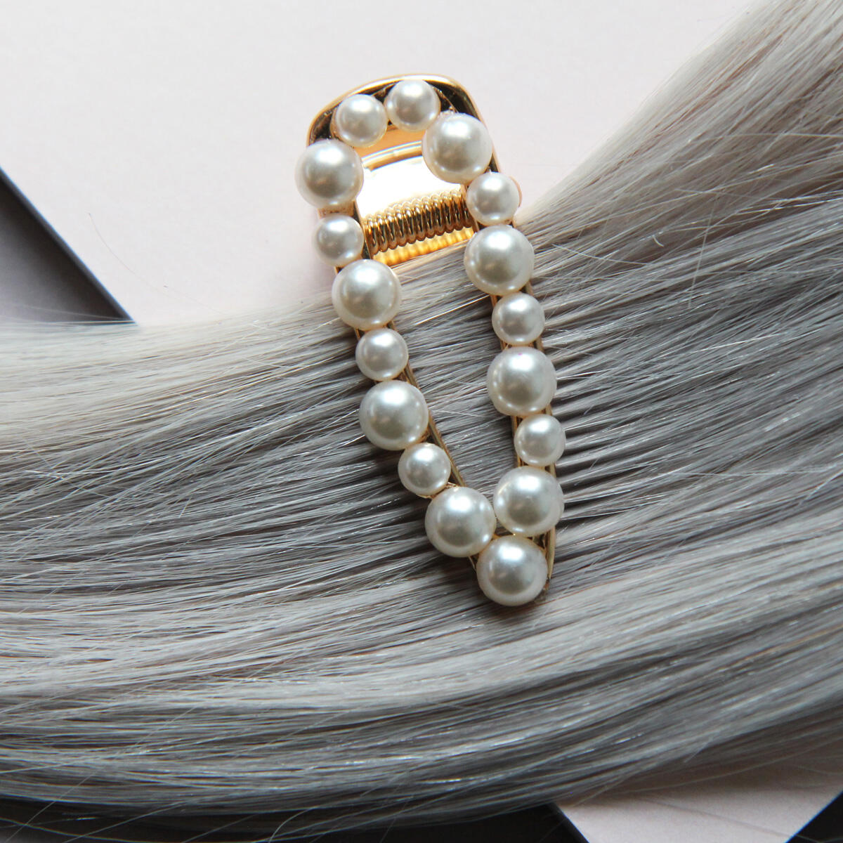 Gold colour hair slide with pearls Pearl Collection no. 15 null