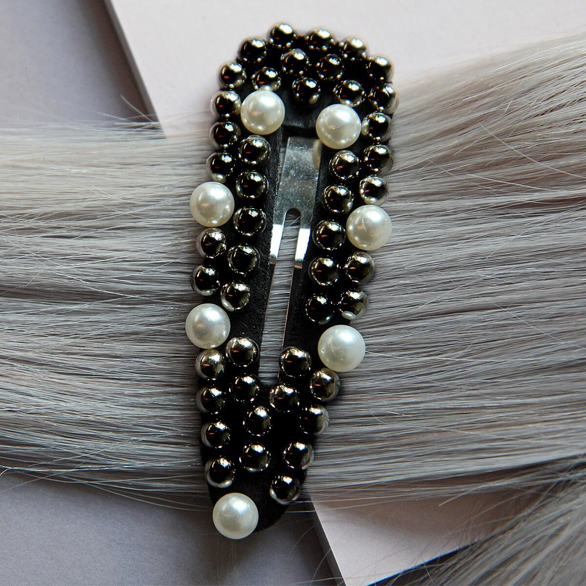 Hair slide, black/silver Pearl Collection no. 9 null