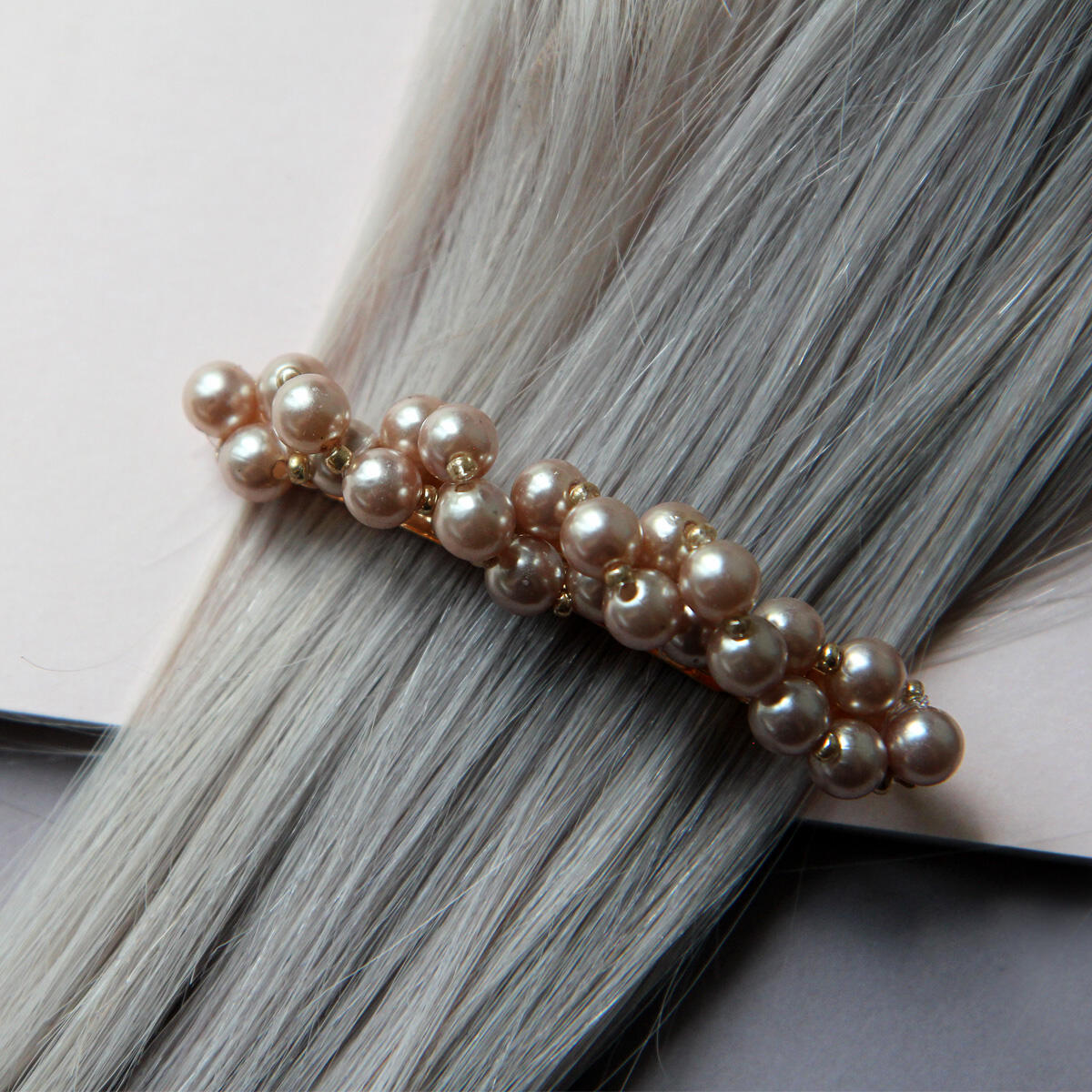 Hair slide with brown pearls Pearl Collection no. 12 null