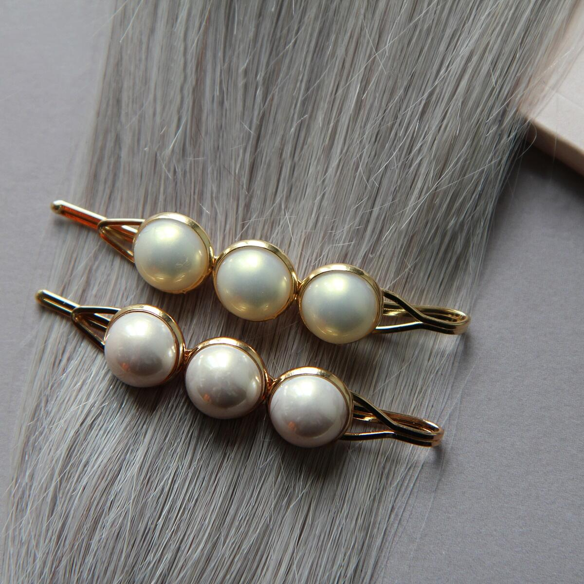 Hair slide with pastel pearls, pack of 2 Pearl Collection no. 6