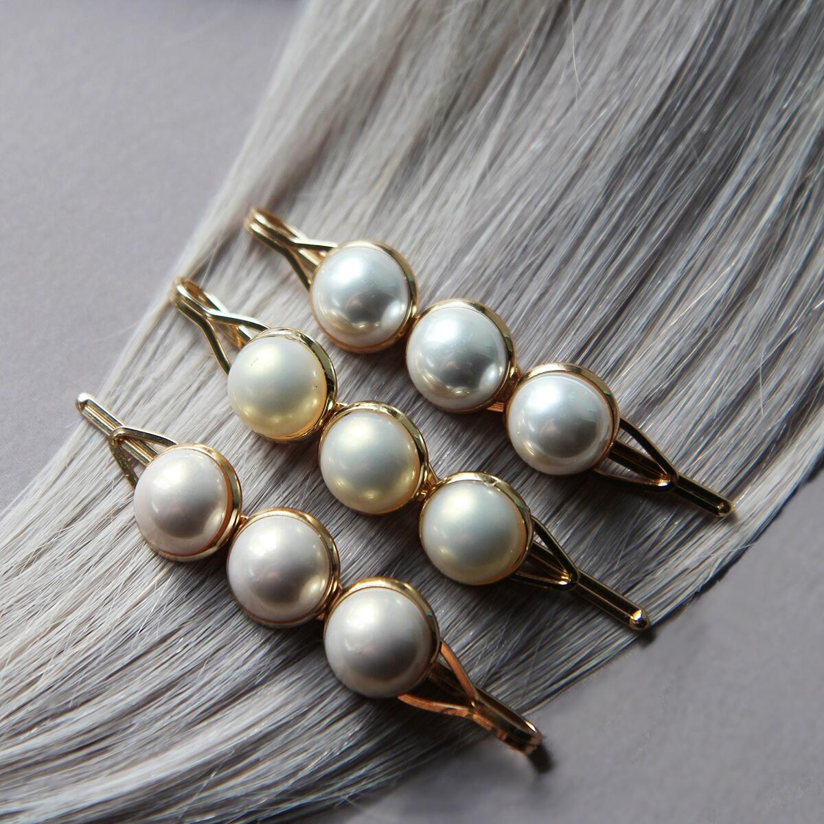 Hair slide with pastel pearls, pack of 3 Pearl Collection no. 4 null