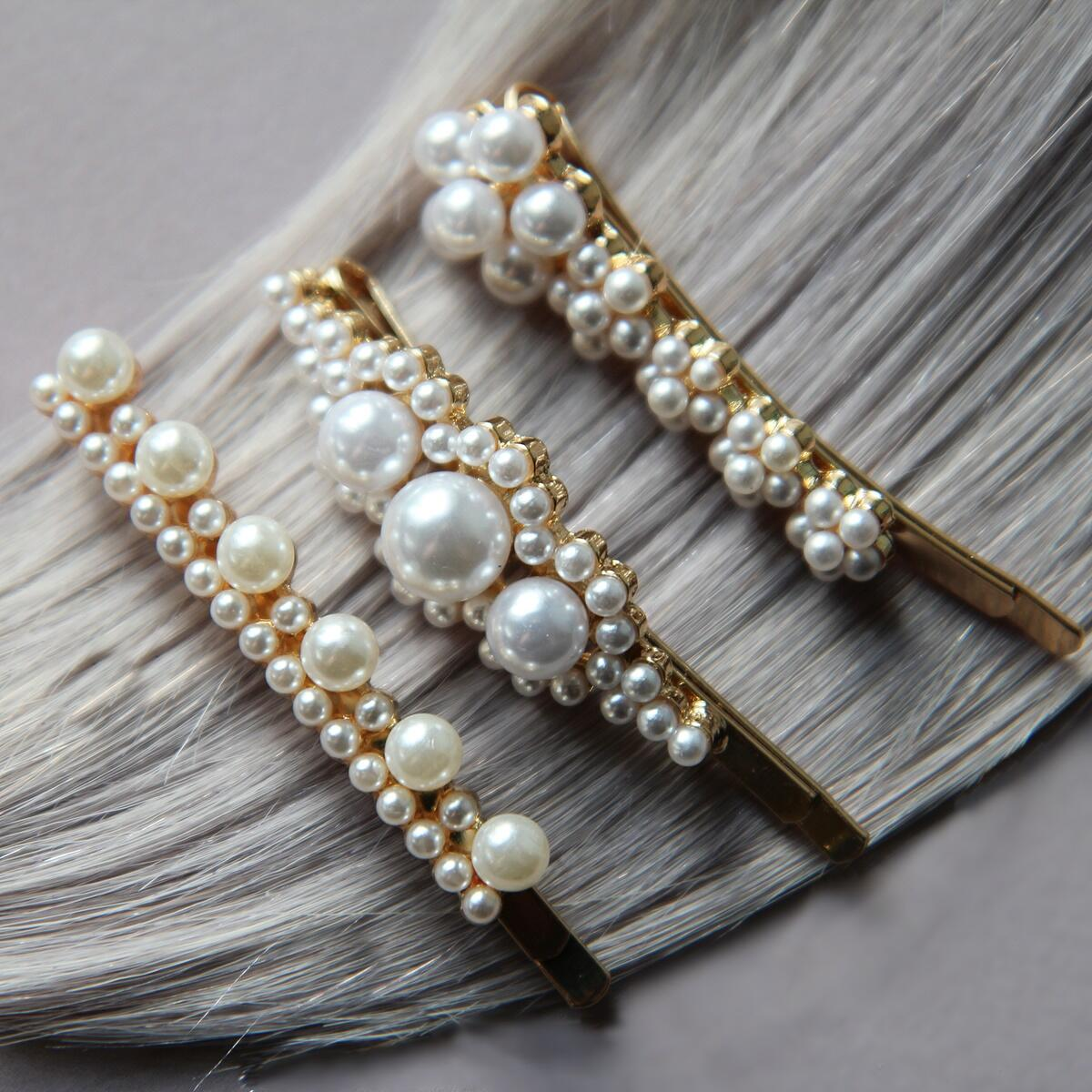 Hairpins with pearls, pack of 3 Pearl Collection no. 3