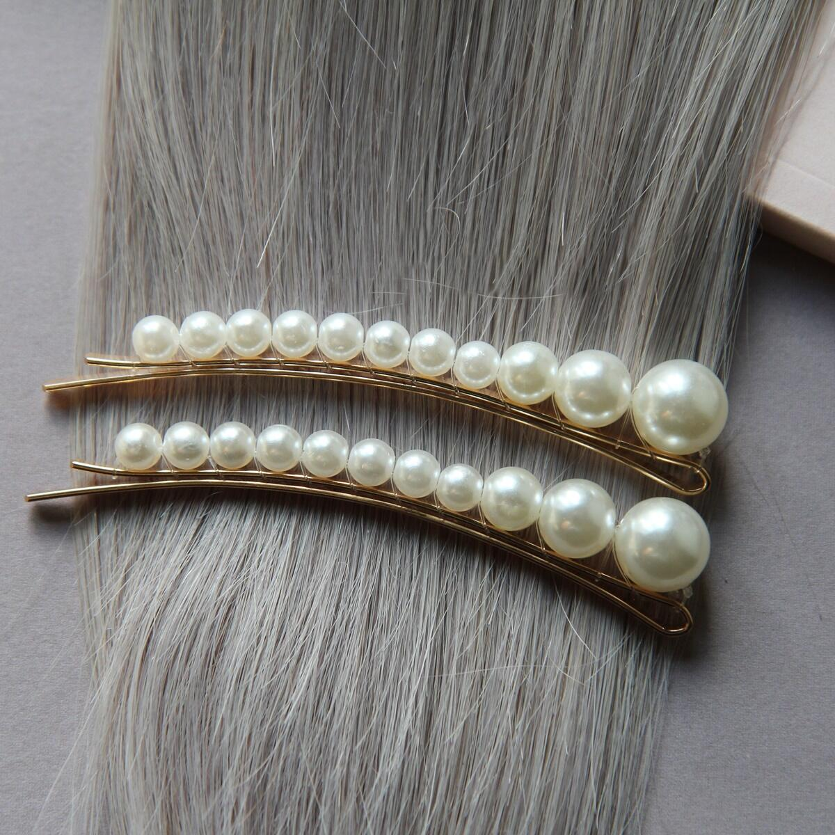 Hairpins with small pearls, pack of 2 Pearl Collection no. 5