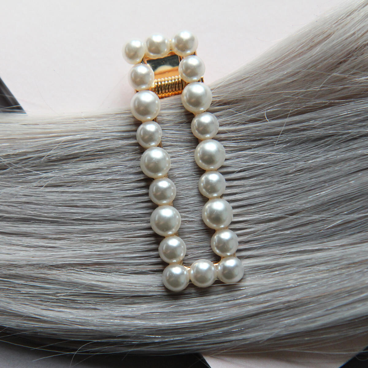 Rectangular hair slide with pearls Pearl Collection no. 8 null