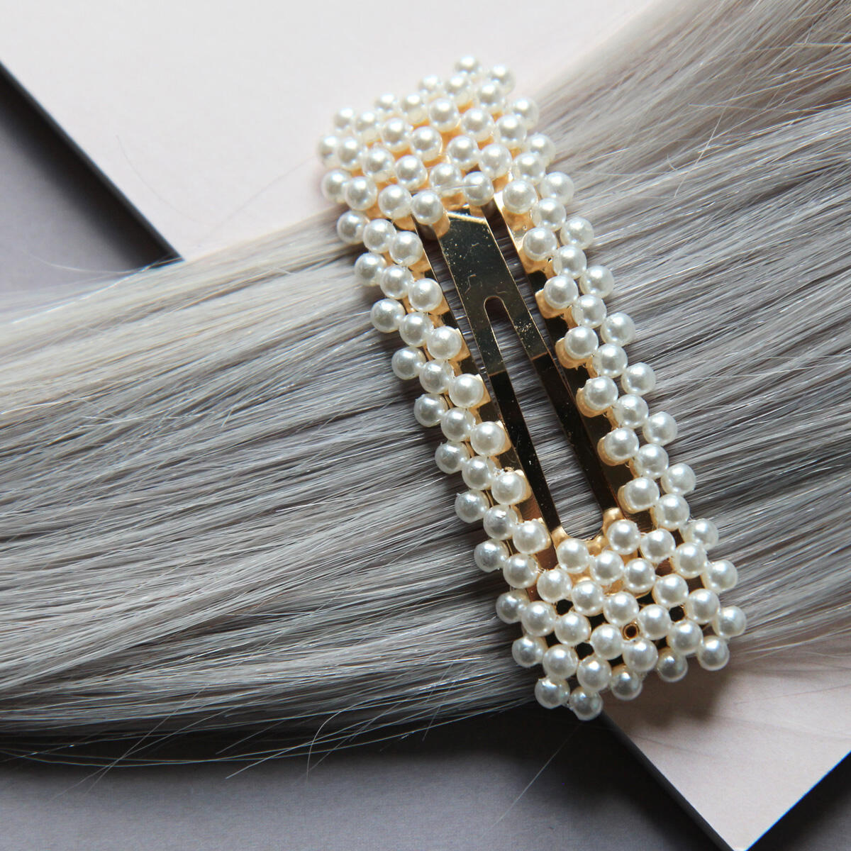 Rectangular hair slides with pearls Pearl Collection no. 13 null