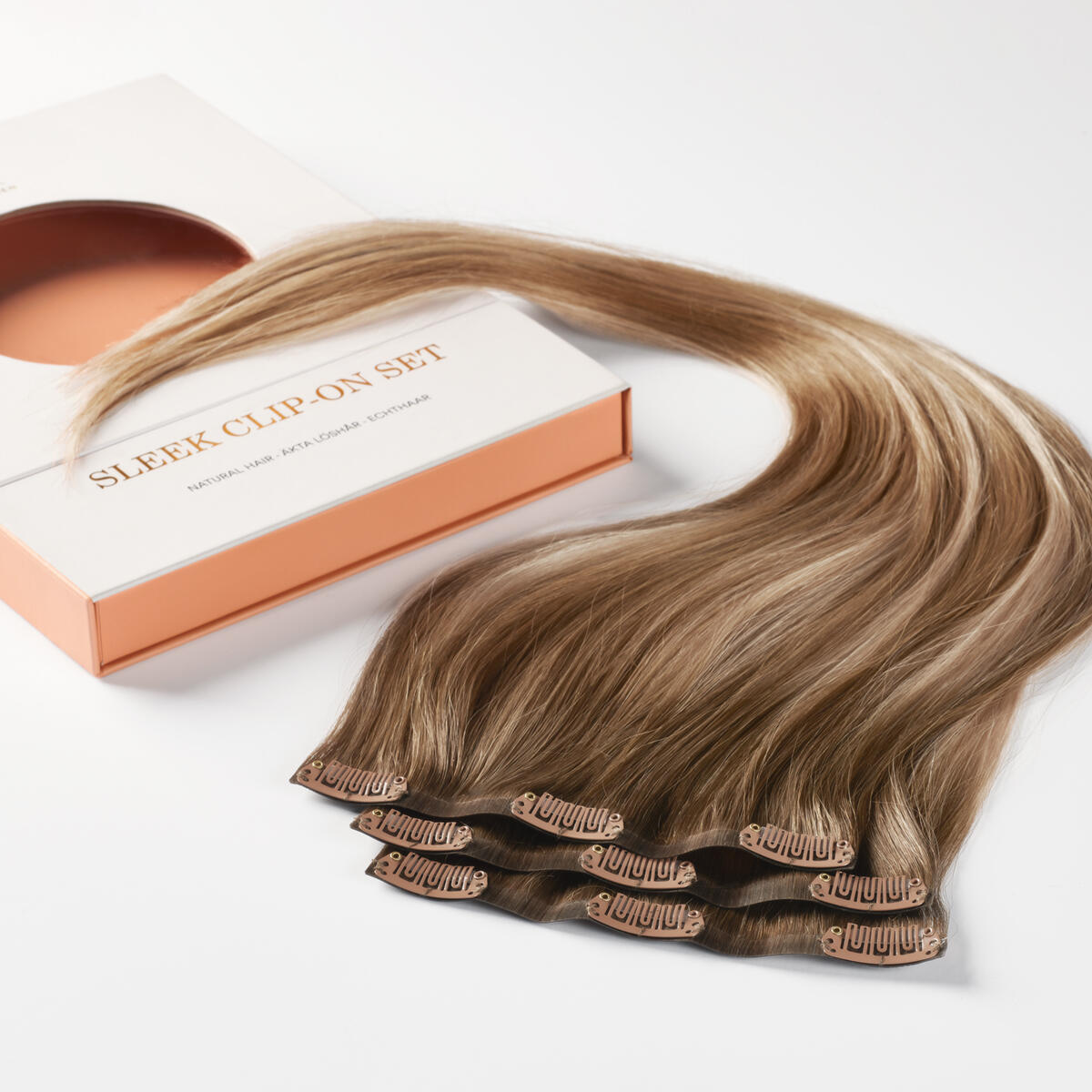 Sleek Clip-on set B5.1/7.3 Brown Ash Blonde Balayage 50 cm