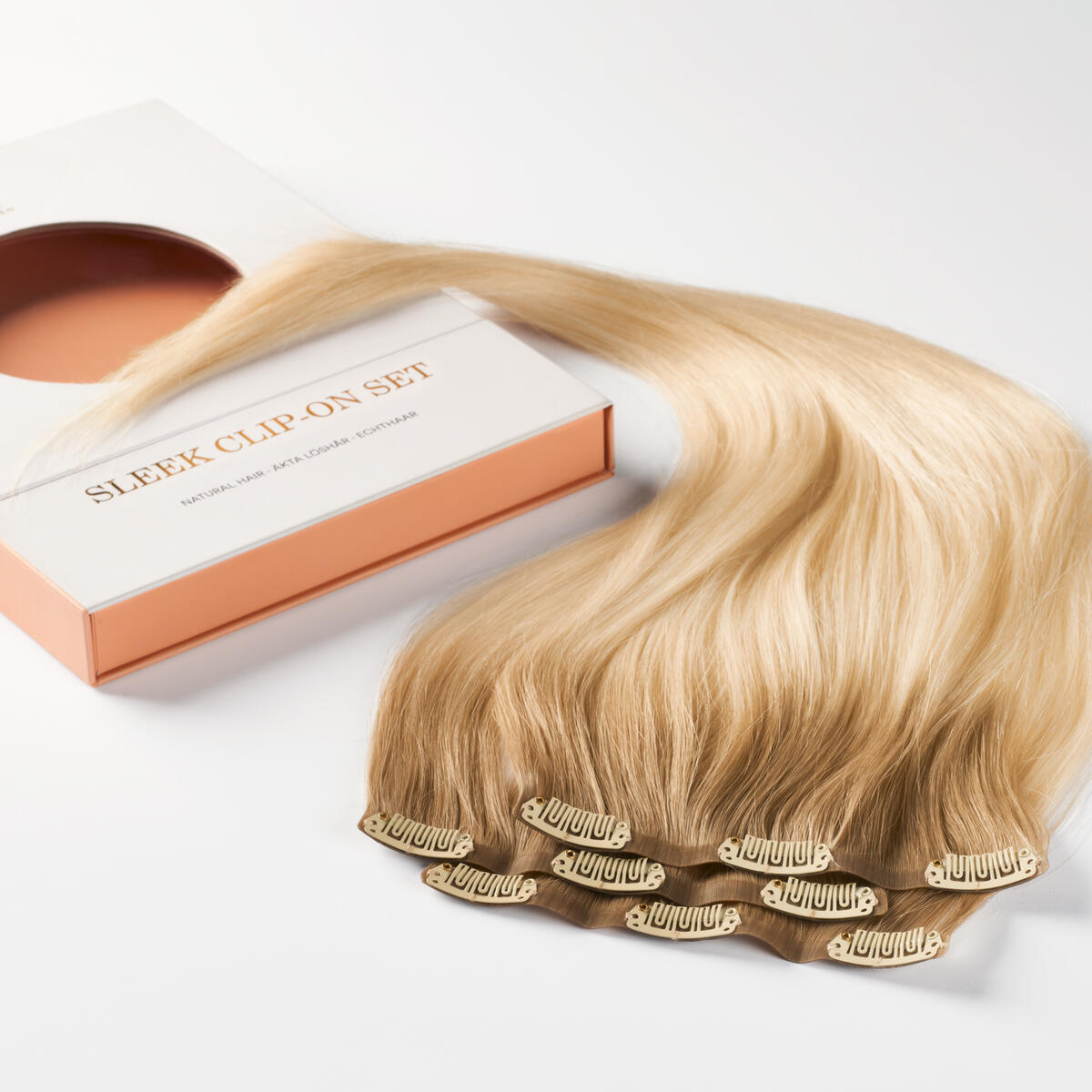 Sleek Clip-on set 3 pieces B7.3/10.10 Cool Platinum Blonde Balayage 50 cm