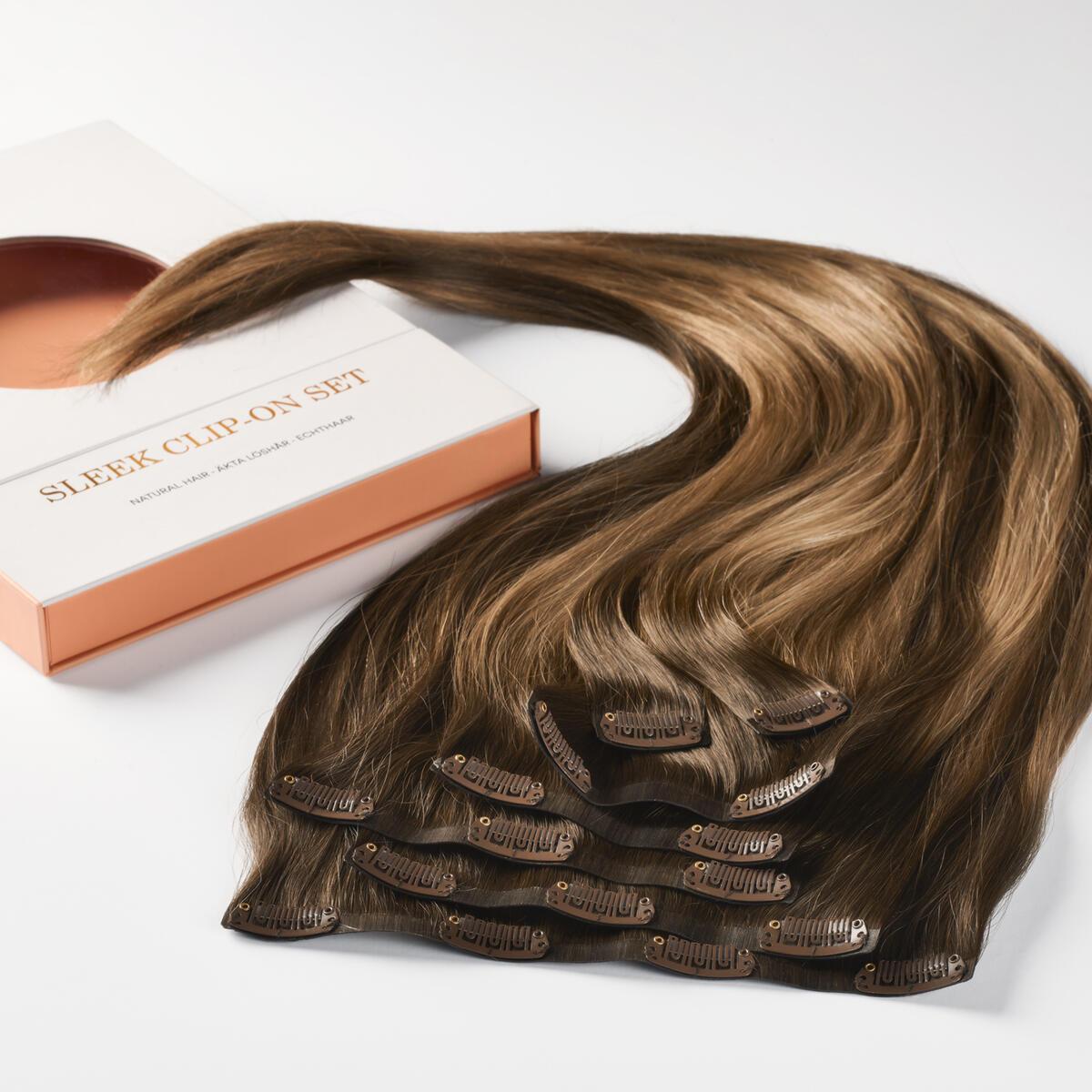 Sleek Clip-on set 7 pieces B2.3/5.0 Hazelnut Caramel Balayage 50 cm