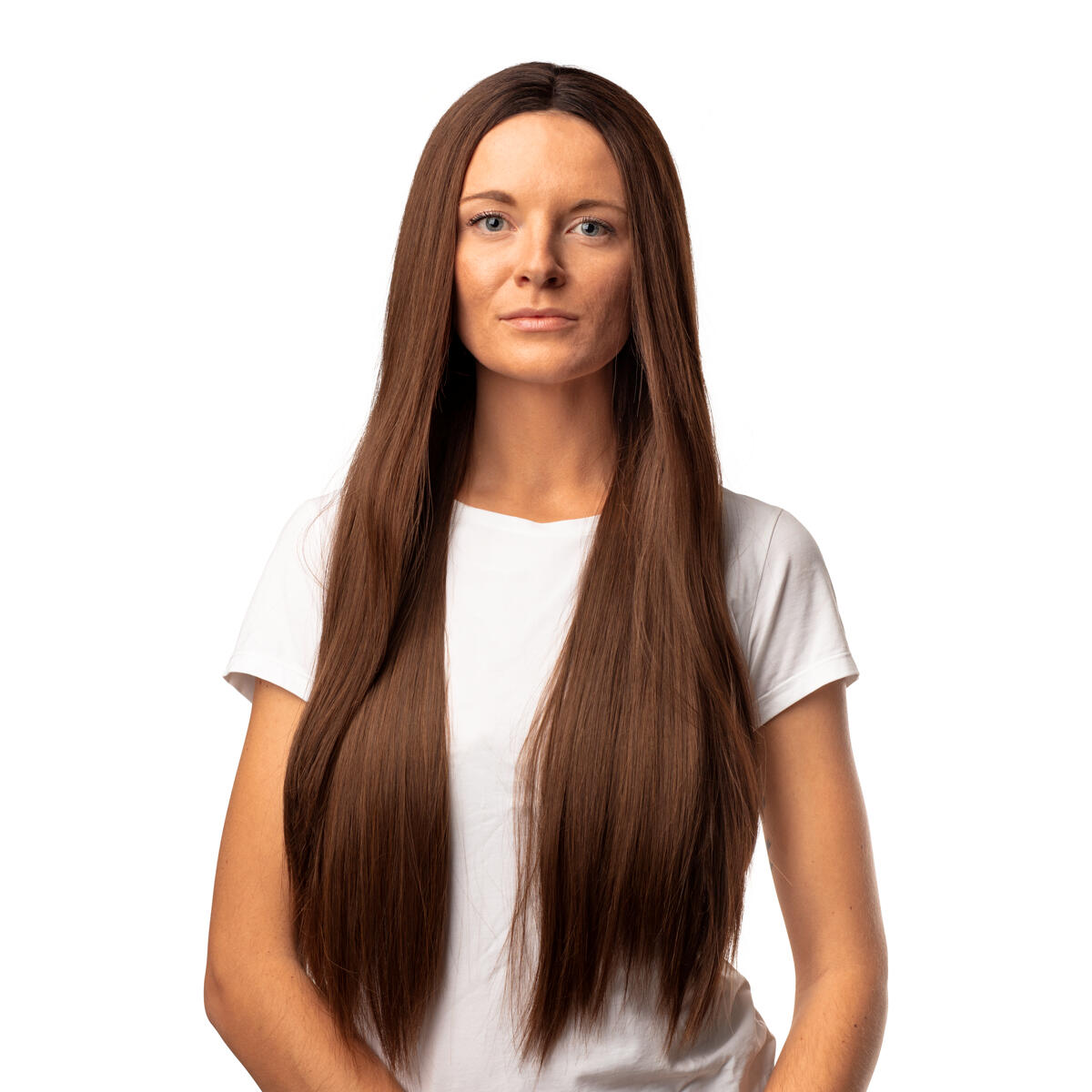 Lace Front Wig  Straight long R2.3/5.0 Chocolate Brown Root 80 cm