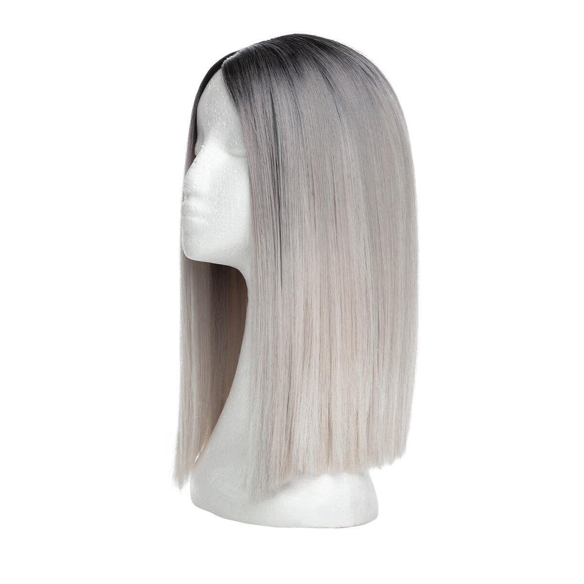 Lace Front Perücke - Straight Short O1.2/10.5 Black Brown/Grey 35 cm