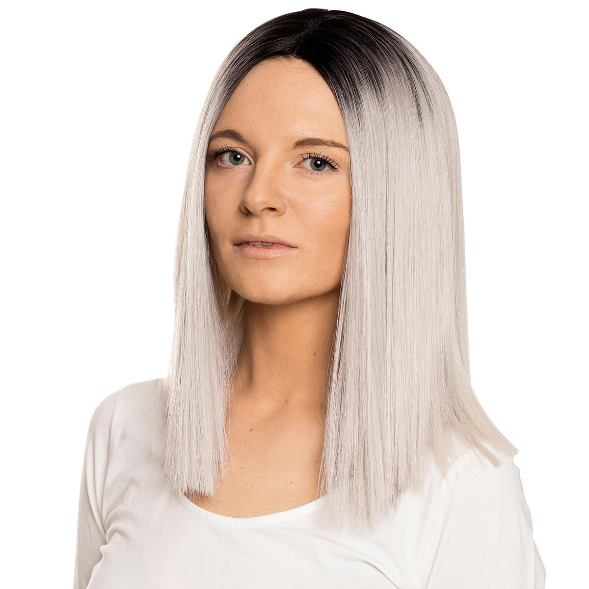 Lace Front Wig O1.2/10.5 Black Brown/Grey 35 cm