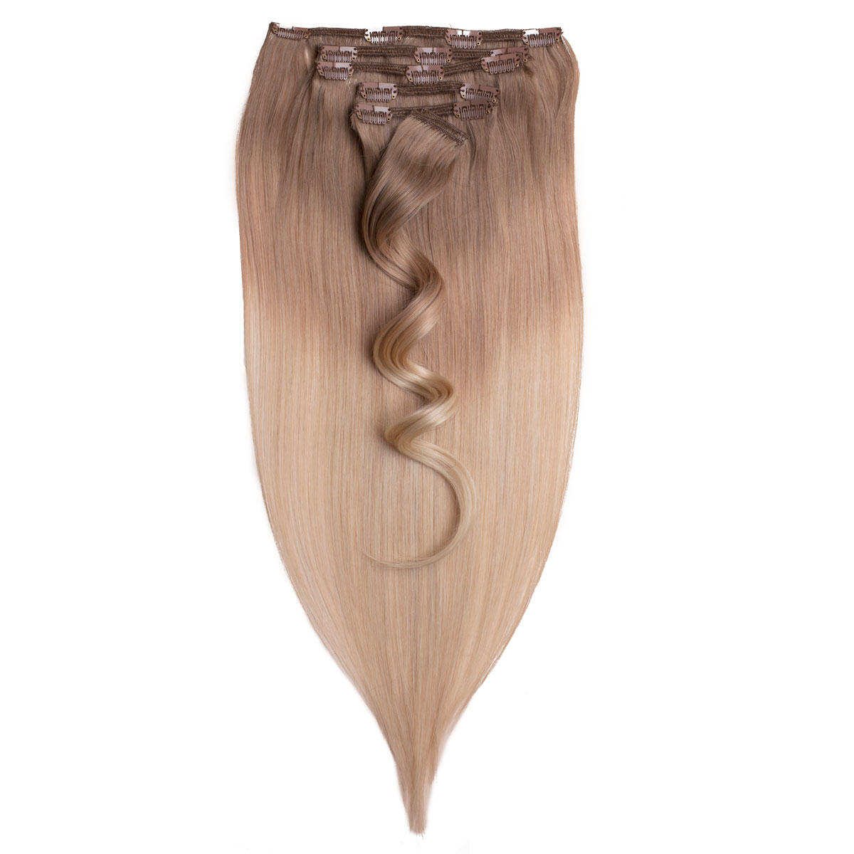 Clip-on Set Premium 7 pieces O7.3/10.8 Cendre Ash Blond Ombre 50 cm