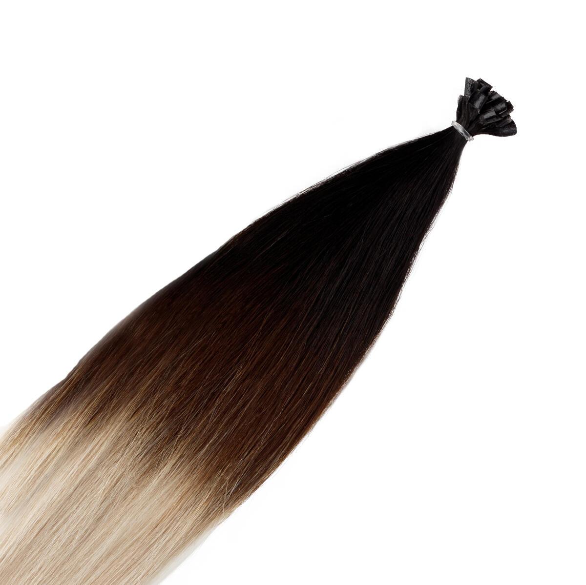 Nail Hair O1.2/99.6 Grey Black Brown Grey Ombre 40 cm
