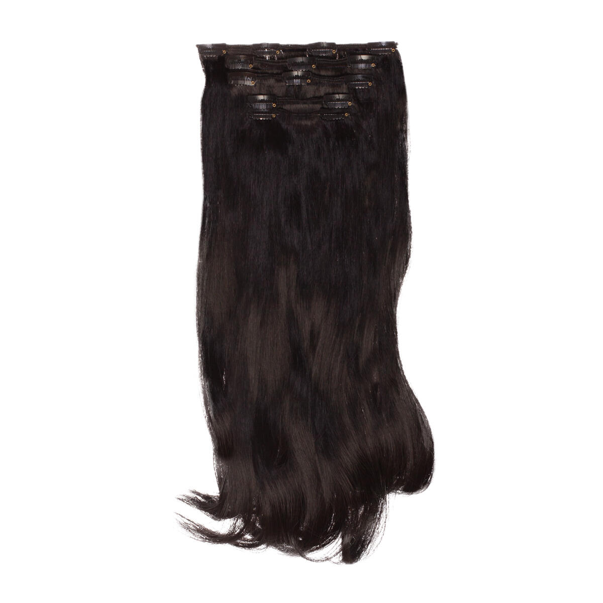 Clip-on set Synthetic 5 pieces Beach Wave 1.2 Black Brown 50 cm