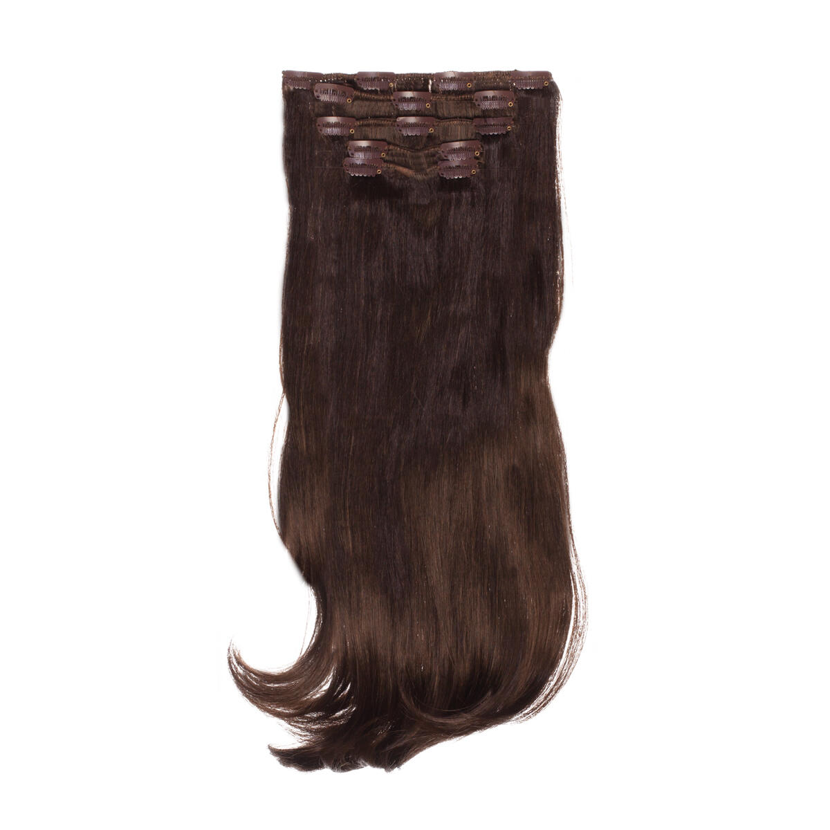 Clip-on Set Synthetic 5 pieces Beach Wave 2.2 Coffee Brown 50 cm