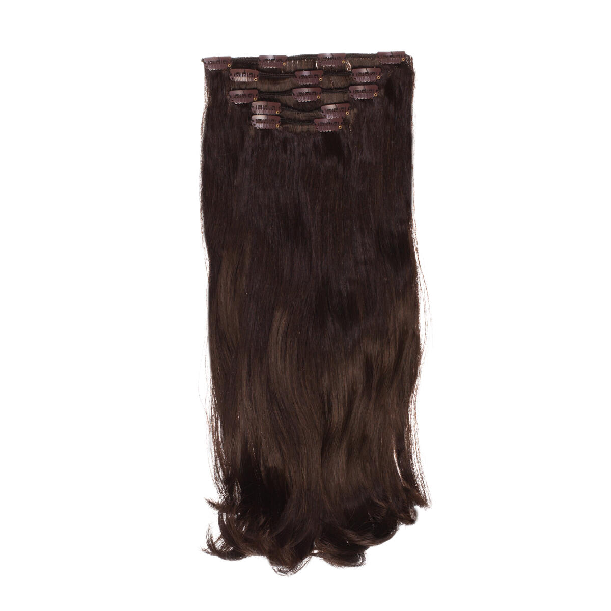 Clip-on set Synthetic 5 pieces Beach Wave 2.3 Chocolate Brown 50 cm