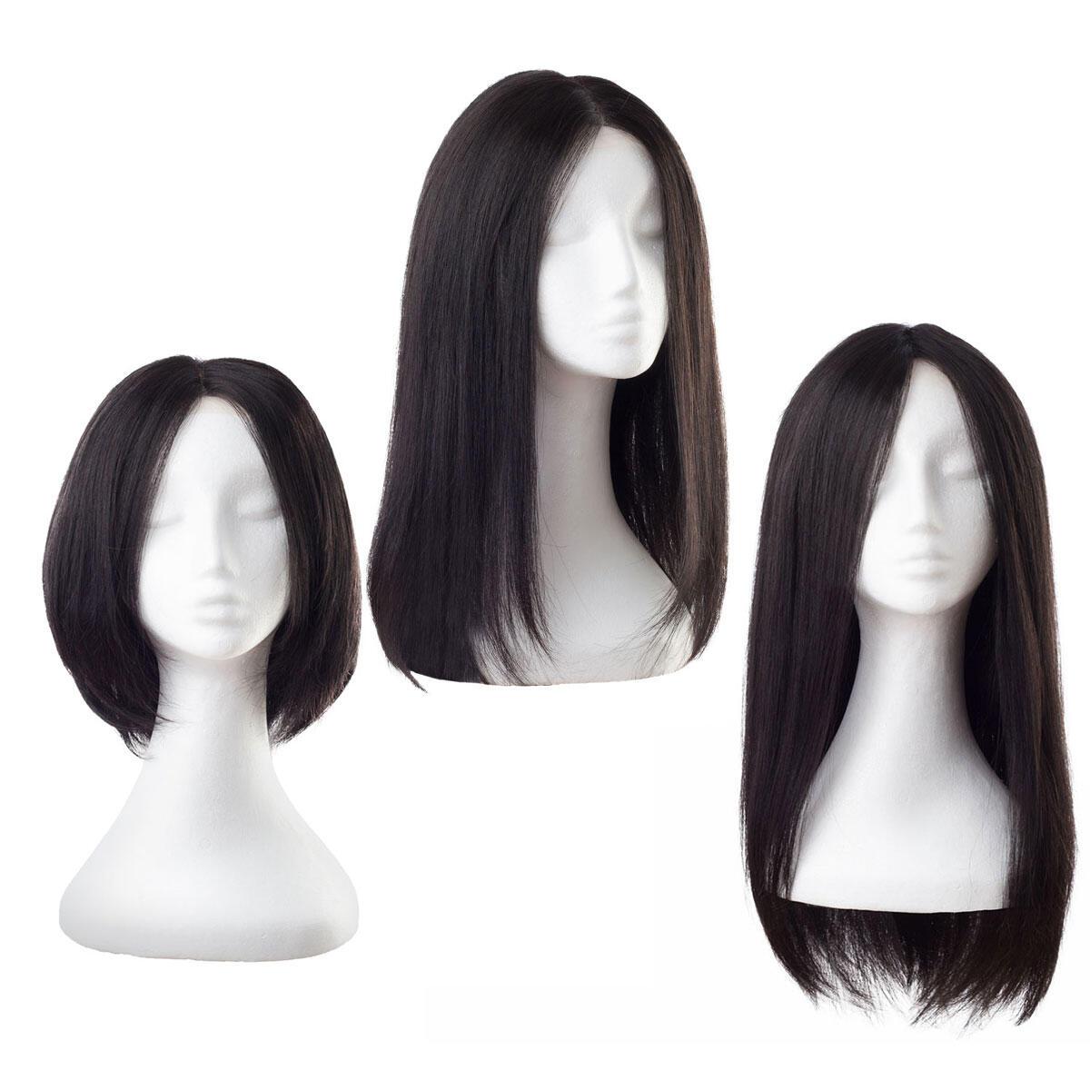 Lace Wig Human Hair 1.1 Intense Black 45 cm