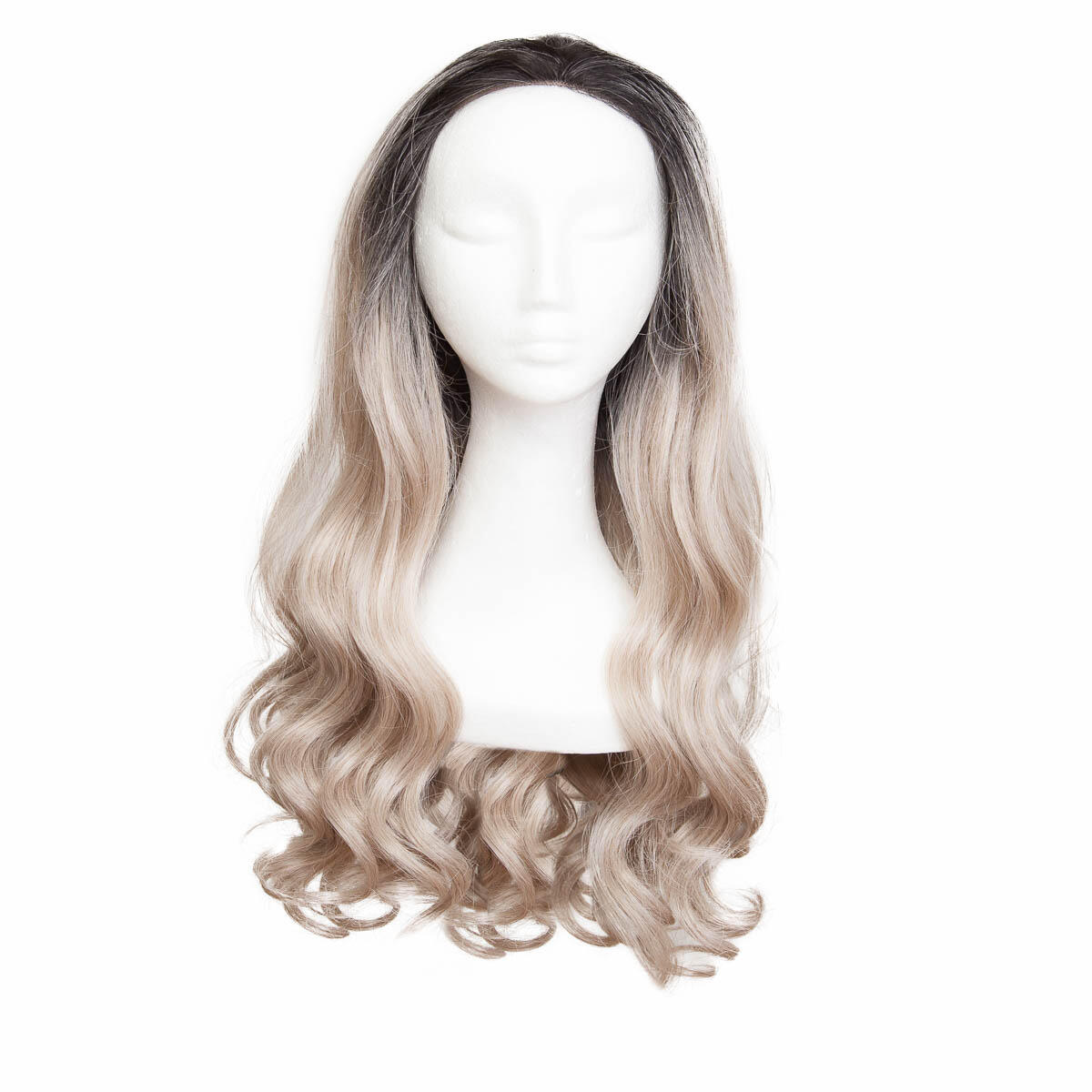 Lace Front Perücke Long Curly O1.2/10.5 Black Brown/Grey 60 cm